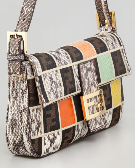 Snakeskin Colorblock Baguette Bag
