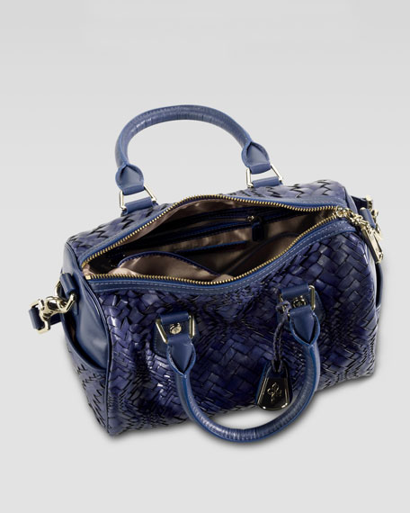 Jade Optical Weave Satchel Bag, Blue