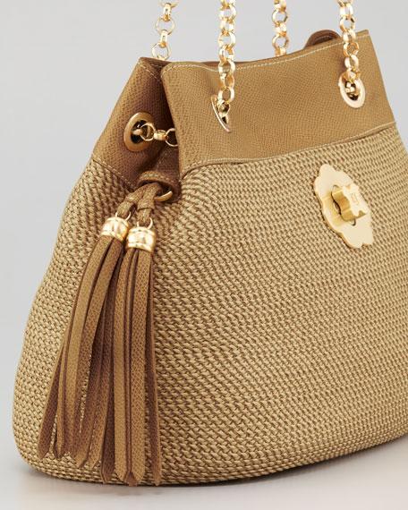 Squishee Bon Tassel Tote Bag, Tan