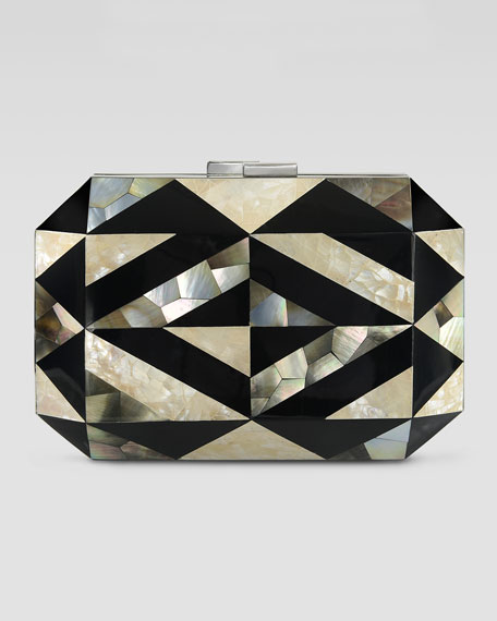 Dawn Shell & Enamel Minaudiere, Black