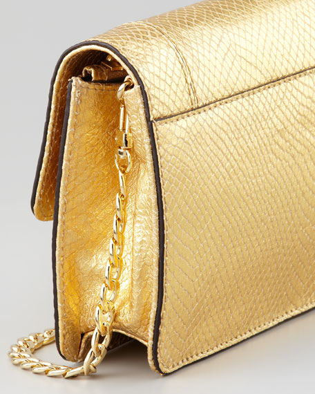 Emma Embossed Metallic Crossbody Mini Bag, Gold