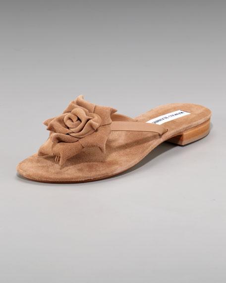 Suede-Flower Thong Sandal