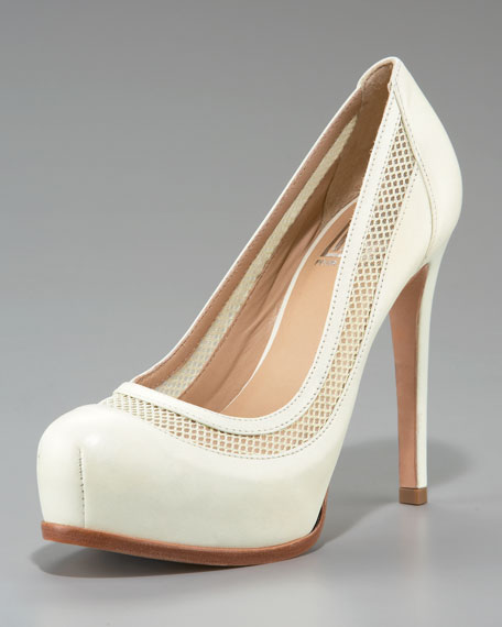 Mesh and Leather Platform Pump