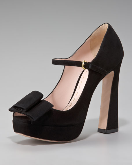 Suede Peep-Toe Mary Jane Pump