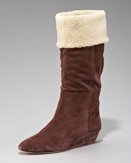 Faux-Shearling Suede Boot