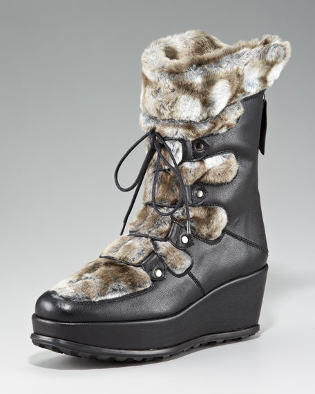 Faux-Fur-Trimmed Wedge Boot