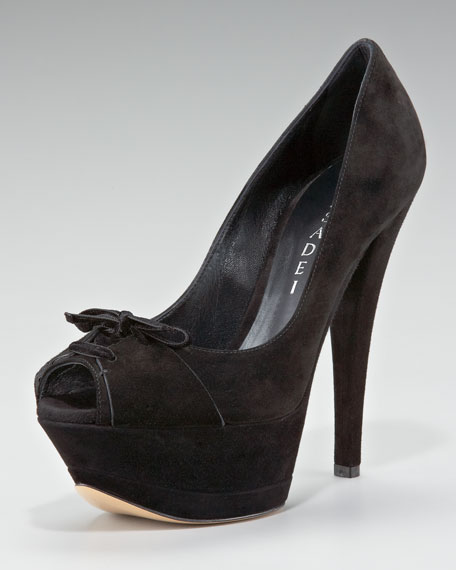 Bow Peep-Toe Pump