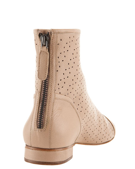 Perforated Leather Ankle Boot