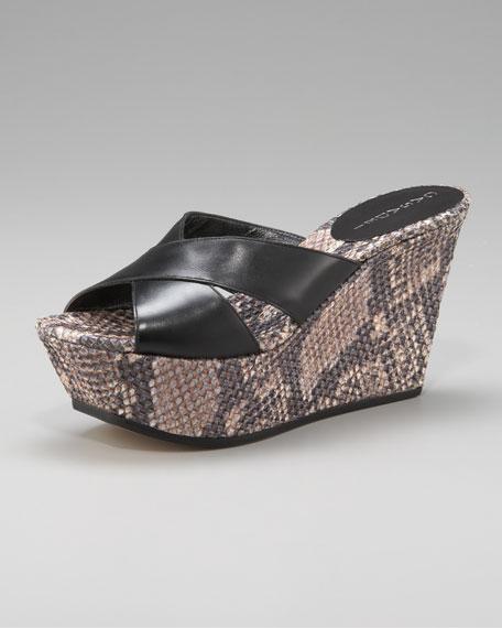 Snake-Weave Wedge Sandals