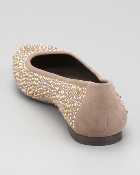 Nubeads Beaded Suede Ballerina Flat