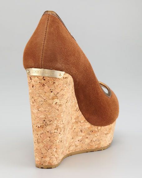 Papina Suede Cork Wedge, Tan