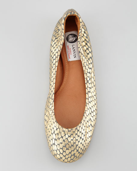 Scrunched Snake-Embossed Ballerina Flat, Metallic