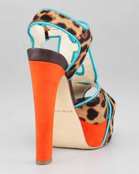 Colorblock Leopard-Print T-Strap Sandal