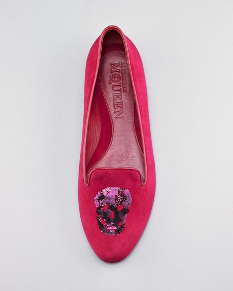 Embroidered Sequined Skull Slip-On