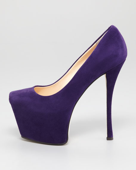 Exaggerated Platform Suede Pump