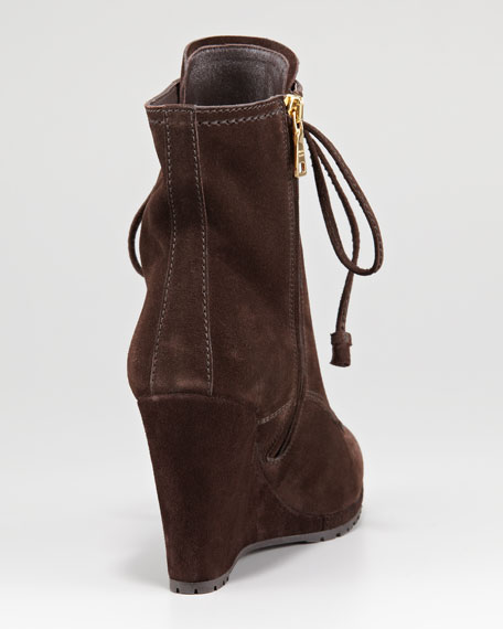 Lace-Up Zip Suede Wedge Boot