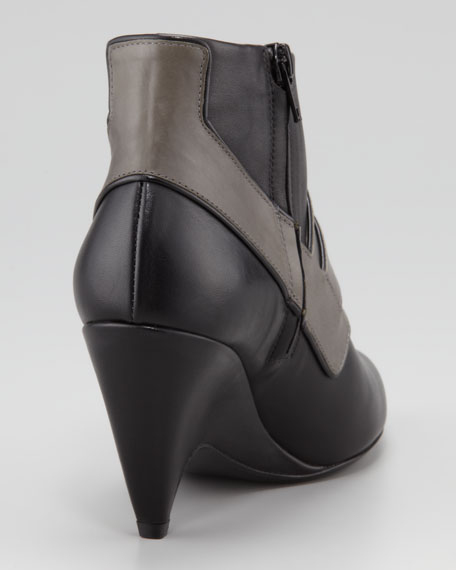 Two-Tone Buckle-Front Arcade Bootie