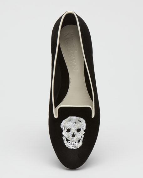 Skull-Vamp Suede Belgian Loafer