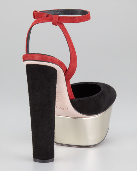 Cone Heel Ankle-Strap Sandal