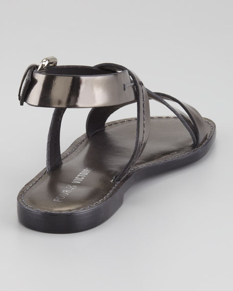 Mariza Metallic Flat Leather Sandal