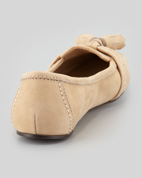 Suede Loafer Ballerina Flat, Sand