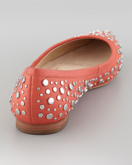 Ara Studded Pointed-Toe Skimmer Flat, Peach