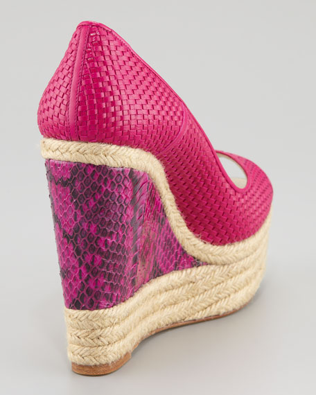 Cailey Leather Espadrille Snake-Wedge Pump