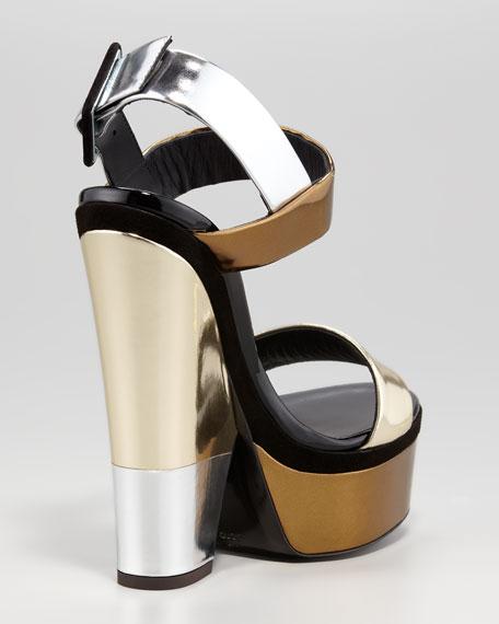 Multi-Metallic Platform Wedge Sandal