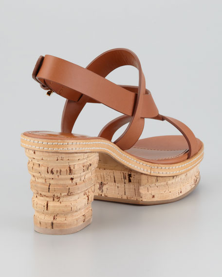 Cork-Leather Low-Heel Sandal