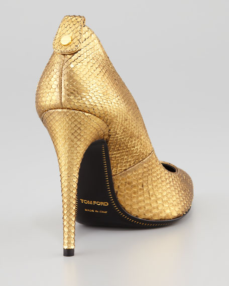 Metallic Python Pointed-Toe Pump