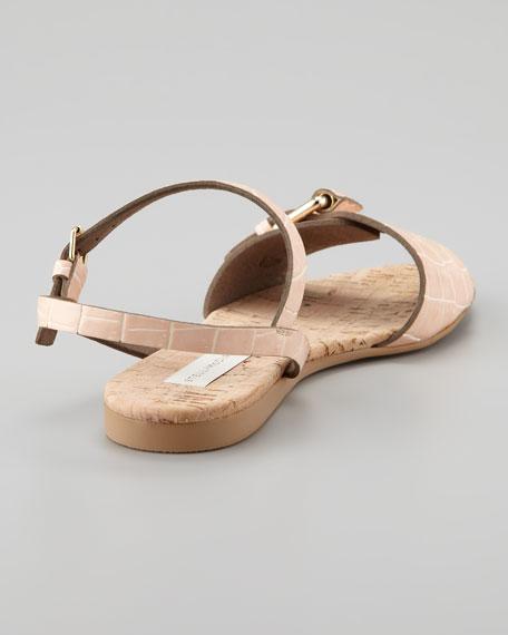 Faux-Crocodile Cork Flat Sandal, Nude