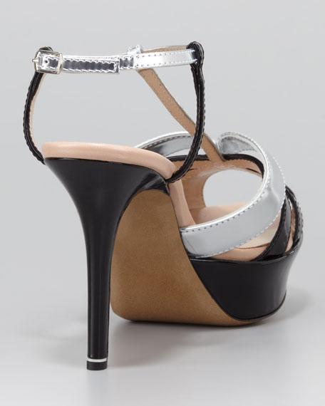 Patent T-Strap Sandal, Silver/Black