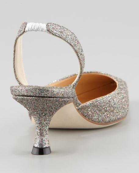 Carolyne Glittered Low-Heel Halter Pump