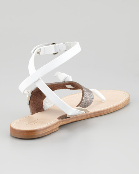 Sigrid Ankle-Wrap Thong Sandal, Silver