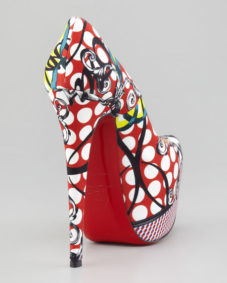 Daffodile Multi-Print Platform Red Sole Pump