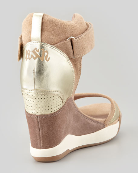 Suede Wedge Sneaker Sandal, Chamois
