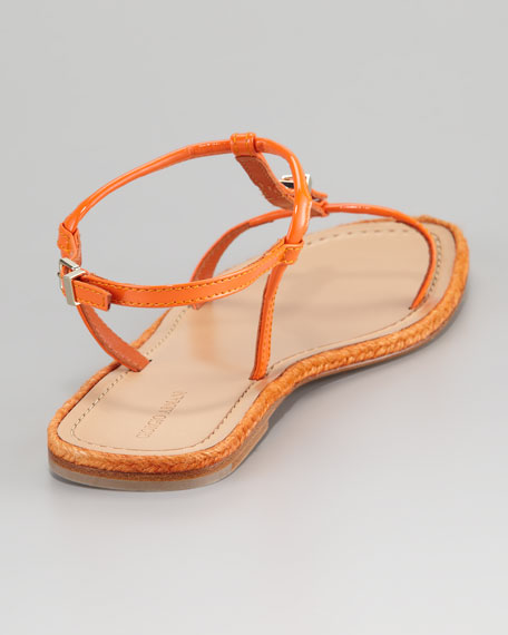 Flat Buckled Sandal, Orange