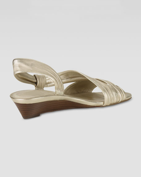 Air Natalie Low-Wedge Leather Sandal, Soft Gold