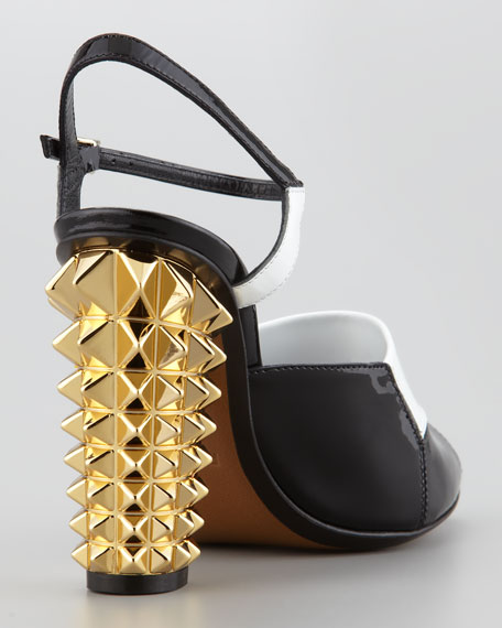 Patent Pyramid Stud High-Heel Sandal, Black/White