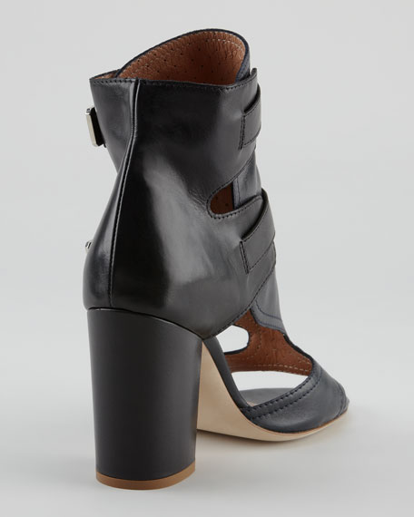 Doony Buckled Peep-Toe Bootie, Black