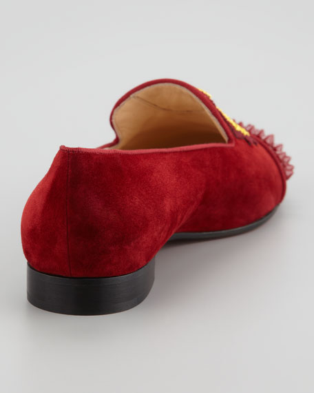 Intern Spiked Velvet Red Sole Loafer, Red