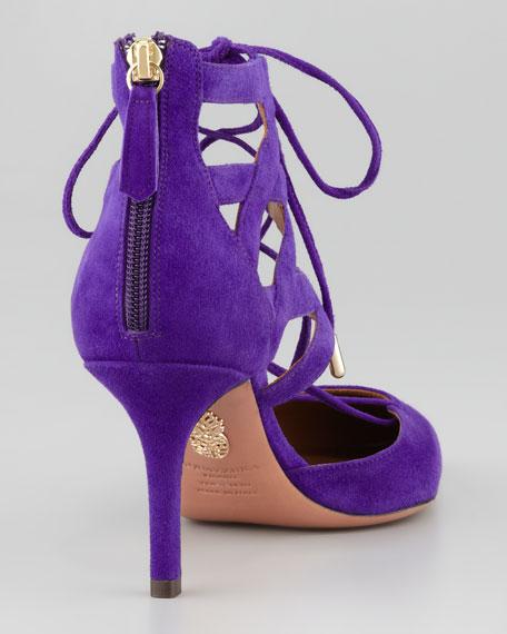 Belgravia Lattice Suede Sandal, Purple