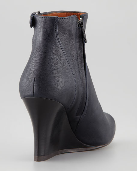 Leather Wedge Ankle Boot, Blue Night