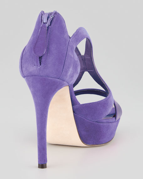 Armadillo Low-Heel Double-Arched Suede Sandal, Purple