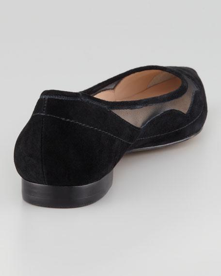 Bibi Mesh-Inset Suede Flat, Black