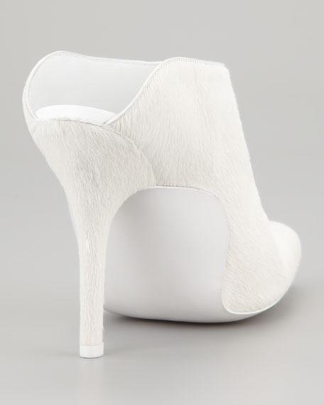 Miranda Calf-Hair Slide Bootie, Porcelain