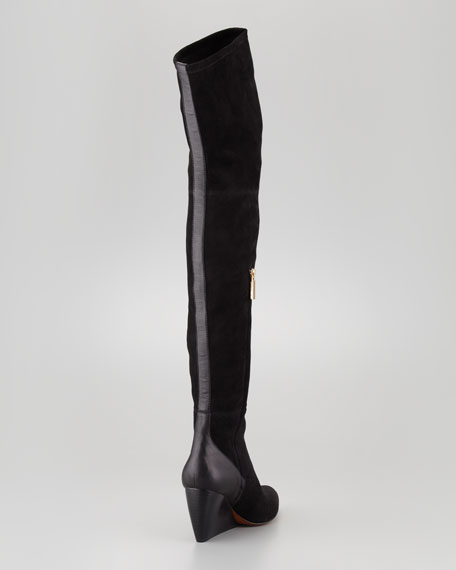 Nico Over-the-Knee Wedge Boot, Black