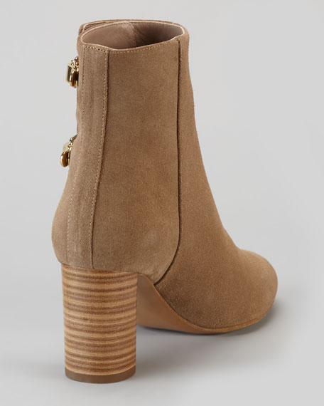 Double-Buckle Suede Mid-Heel Ankle Boot