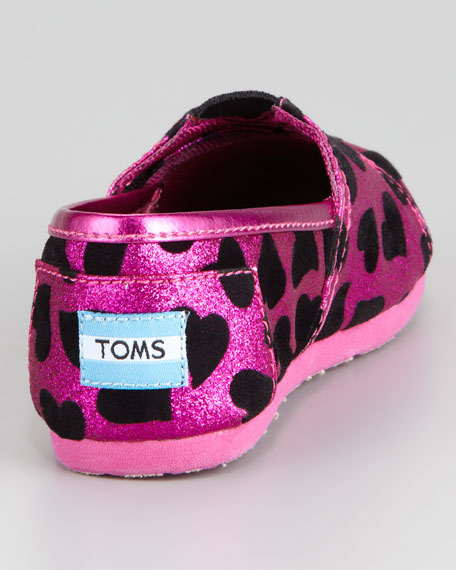 Tiny Velvet-Heart Glitter Slip-On, Pink