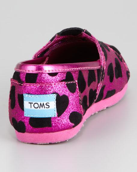 Tiny Velvet-Heart Glitter Slip-On, Pink